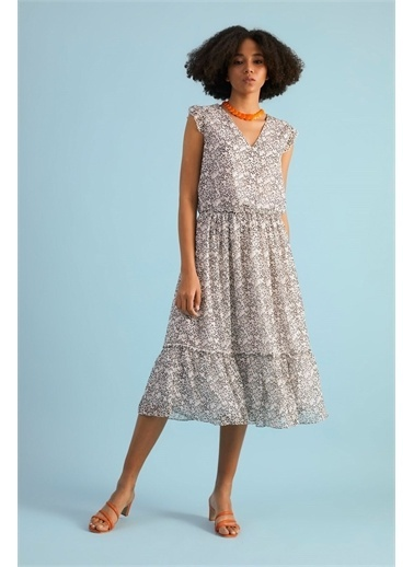 Z Giyim Kadın  Ekru  Desenli V Yaka Şifon Elbise Ekru